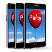 Party Balloon Phone Represents Parties Events and Celebrations — Stok fotoğraf