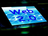 Web 2.0 On Screen Means Net Web Technology And Network — Stock Photo