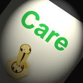 Care Switch Shows Caring Careful Or Concern — Stock Photo