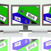 Life Work Folders Mean Balance Of Career And Leisure — Stock Photo
