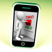 Timid Bold Switch Means Fear Or Courage — Stock Photo