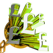 Pound Signs Means Currency Of Great Britain — Stock Photo