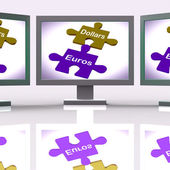 Dollars Euros Puzzle Screen Means International Money Exchange — Stock Photo