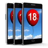 Balloon Phone Represents Eighteenth Happy Birthday Celebration — Zdjęcie stockowe