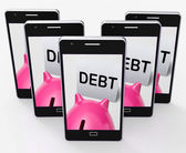 Debt Piggy Bank Means Loan Arrears And Paying Off — Stock Photo
