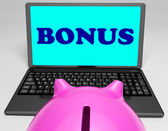 Bonus Laptop Means Perk Benefit Or Dividends — Stock Photo