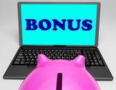Bonus Laptop Means Perk Benefit Or Dividends — Zdjęcie stockowe