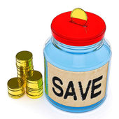 Save Jar Shows Saving Or Reserving Money — ストック写真