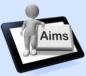 Aims Button With Character Shows Targeting Purpose And Aspiratio — Stock Photo