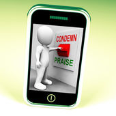 Condemn Praise Switch Means Appreciate or Blame — Stock Photo