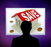 Save On House Man Means Saving For Deposit Or Home — Stock Photo