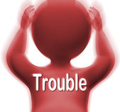 Trouble Character Means Problems Difficulty Or Worries — Stock Photo