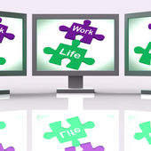Work Life Puzzle Shows Balancing Job And Relaxation — Foto de Stock