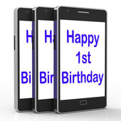 Happy 1st Birthday On Phone Means First — Stock Photo