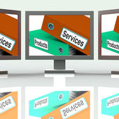 Services Products Screen Show Business Service And Merchandise — Stock Photo