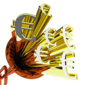 Euro Sign Means European Finances And Currency — Stock Photo