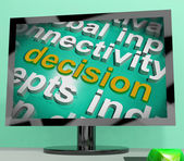 Decision Word Cloud Screen Shows Choice Or Decide — Stock Photo