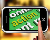 Action In Word Cloud Shows Inspired Activity — Stock Photo