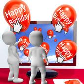 Happy Birthday Balloons Show Festivities and Invitations Interne — Stock Photo