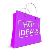 Hot Deals On Shopping Bags Shows Bargains Sale And Saving — Stock Photo