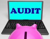 Audit Laptop Means Auditor Scrutiny And Analysis — Stock Photo