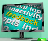 Feedback Word Cloud Screen Shows Opinion Evaluation And Surveys — Stockfoto
