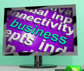 Business Word Cloud Screen Shows Commercial Trade Or Deal — Stock Photo
