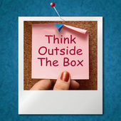 Think Outside The Box Photo Means Different Unconventional Think — Stock Photo