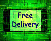 Free Delivery On Phone Shows No Charge Or Gratis Deliver — Stock Photo