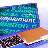 Implement Word Cloud Laptop Shows Implementing Or Execute A Plan — Stock Photo