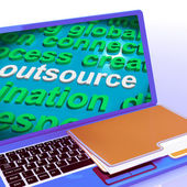Outsource Word Cloud Laptop Shows Subcontract And Freelance — ストック写真