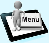 Menu Button With Character  Shows Ordering Food Menus Online — Stock Photo