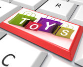 Toys Bags Key Shows Retail Shopping and Buying — Stock Photo