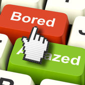 Bored Boring Computer Shows Boredom Or Amaze Reaction — Stock Photo