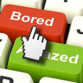 Bored Boring Computer Shows Boredom Or Amaze Reaction — Stock Photo
