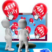 Red Fourth of July Balloon Shows Independence Spirit Internet — Stock Photo