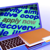 Apply Now Word Cloud Laptop Shows Work Job Applications — Stock Photo