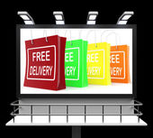 Free Delivery Shopping Sign Showing No Charge Or Gratis To Deliv — Stok fotoğraf