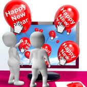 Happy New Year Balloons Show Online Celebration Or Invitations — Stock Photo
