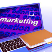 Marketing In Word Cloud Laptop Means Market Advertise Sales — 图库照片