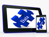 Data Smartphone Means Storing Or Mining Information — Stock Photo