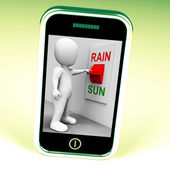 Sun Rain Switch Shows Weather Forecast Sunny or Raining — Stock Photo