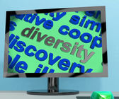 Diversity Word Screen Means Cultural And Ethnic Differences — Stock Photo