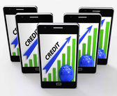 Credit Graph Phone Means Financing Lending And Repayments — Stock Photo