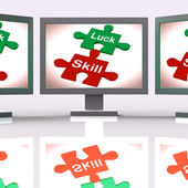 Luck Skill Puzzle Screen Means Competent Or Fortunate — Stock Photo