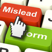 Mislead Inform Computer Shows Misleading Or Informative Advice — Stock Photo