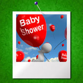 Baby Shower Balloons Photo Shows Cheerful Parties and Festivitie — Stock Photo