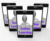 Online Learning Sign Phone Means E-Learning And Internet Courses — Stock Photo