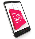 On Sale Shopping Bags Shows Bargains Savings — Stock Photo