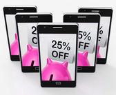 Twenty-Five Percent Off Piggy Bank Shows 25 Discounts — 图库照片
